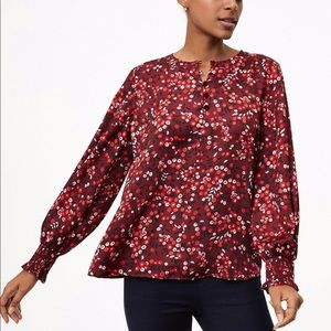 LOFT berry velvet button smocked cuff blouse
